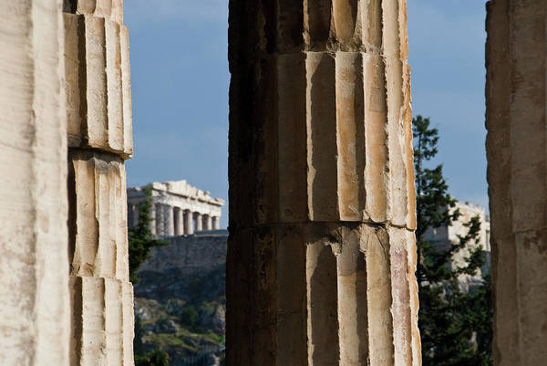 Ancient Greek Photograph - The Temple Of Hephaestus With Acropolis by Dennis K. Johnson