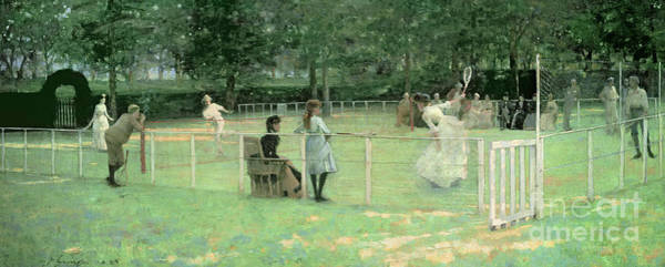 Green Lawn Wall Art - Painting - The Tennis Party by Sir John Lavery