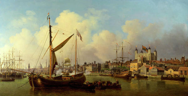 Wall Art - Painting - The Thames And The Tower Of London Supposedly On The Kings by Litz Collection