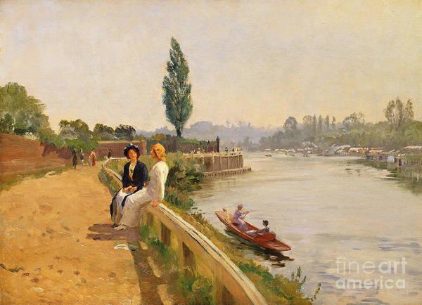 Punt Painting - The Thames At Hampton Court by John Arthur Black
