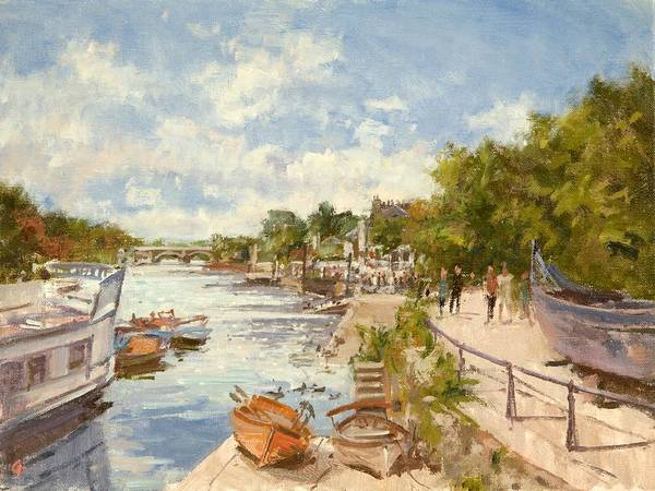Oar Photograph - The Thames At Richmond, 2012 Oil On Canvas by Christopher Glanville