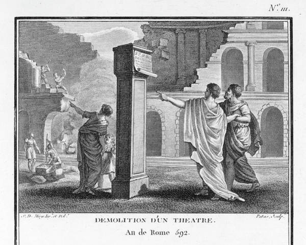 Influence Drawing - The Theatres Of Rome Are  Destroyed by Mary Evans Picture Library