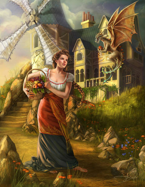 Windmill Digital Art - The Thief by MGL Meiklejohn Graphics Licensing