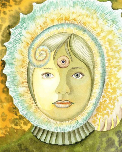 Painting - The Third Eye The Wise One Meditation Portrait by Irina Sztukowski