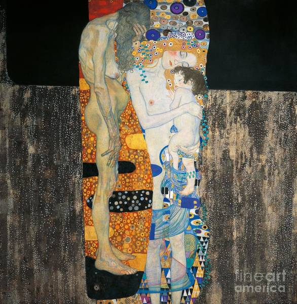 Imaginative Painting - The Three Ages Of Woman by Gustav Klimt