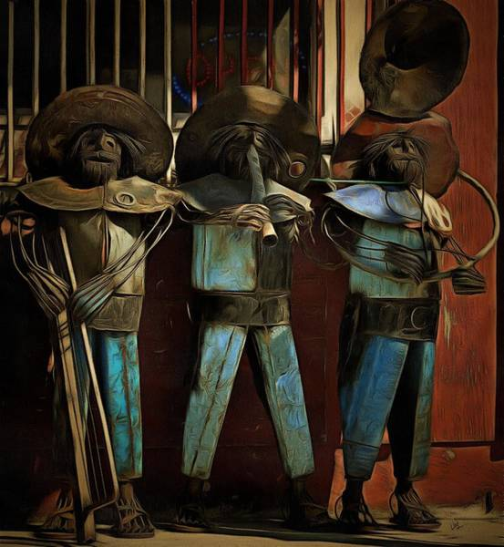 Musical Theme Painting - The Three Amigos - In The Shadows by L Wright