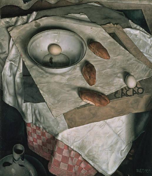 Enamel Wall Art - Painting - The Three Bread Rolls by Dick Ket