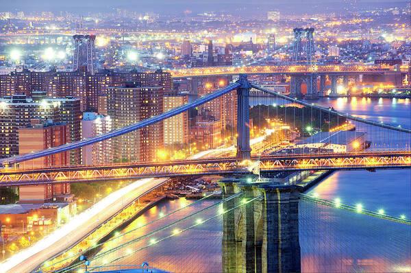 Williamsburg Bridge Photograph - The Three Bridges Of New York City by Tony Shi Photography
