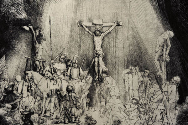 Wall Art - Drawing - The Three Crosses by Rembrandt Harmensz van Rijn
