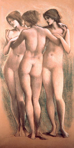 Sensual Drawing - The Three Graces by Sir Edward Coley Burne-Jones