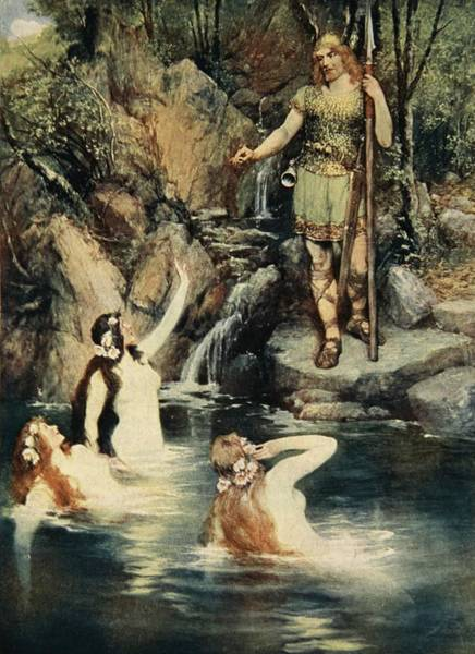 Nymph Drawing - The Three Maidens Swam Close by Ferdinand Leeke