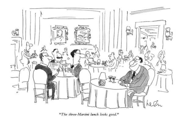 Lunch Drawing - The Three-martini Lunch Looks Good by Arnie Levin