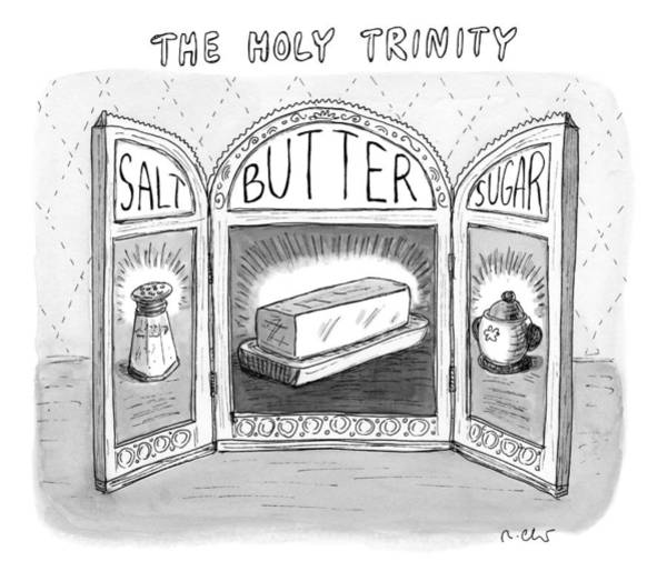 Triptych Wall Art - Drawing - The Holy Trinity by Roz Chast