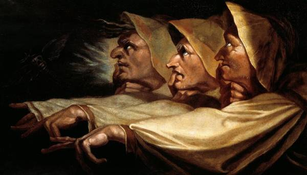 Gnarl Wall Art - Painting - The Three Witches by Johann Heinrich Fussli