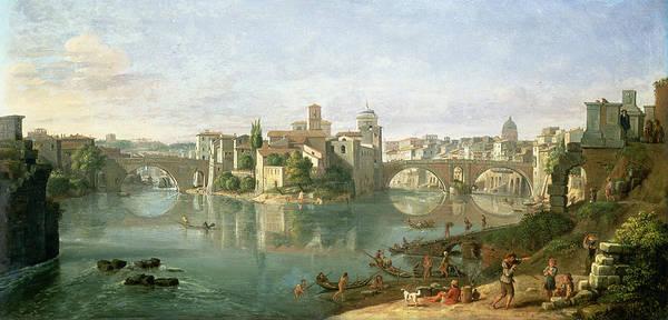 Isola Wall Art - Photograph - The Tiberian Island In Rome, 1685 by Gaspar van Wittel