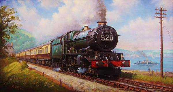 Vintage Train Painting - The Torbay Express. by Mike Jeffries