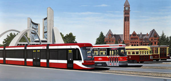 Toronto Painting - The Toronto Streetcar 100 Years by Kenneth M Kirsch
