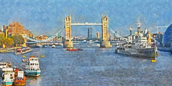 Digital Art - The Tower Bridge And The Hms Belfast by Digital Photographic Arts