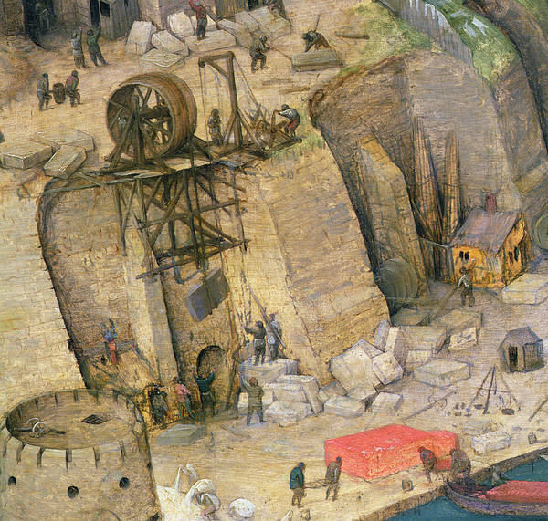 Genesis Photograph - The Tower Of Babel, Detail Of The Construction Works, 1563 Oil On Panel Detail Of 345 by Pieter the Elder Bruegel