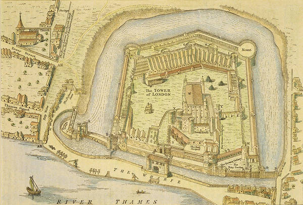 River Drawing - The Tower Of London, From A Survey Made by English School