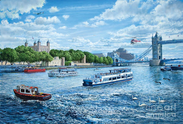 River Thames Digital Art - The Tower Of London by MGL Meiklejohn Graphics Licensing