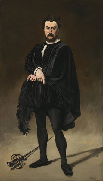 Sword Painting - The Tragedian Actor Rouviere As Hamlet by Edouard Manet