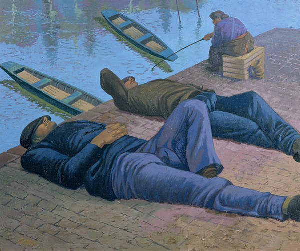 Jetty Painting - The Tramps by Osmund Caine
