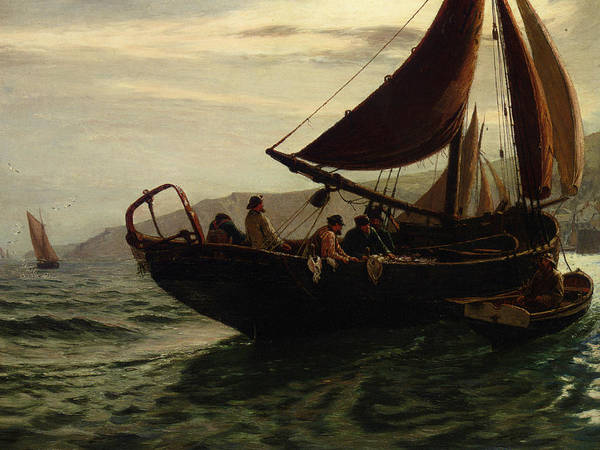 Dingy Digital Art - The Trawler by Charles William Hemy