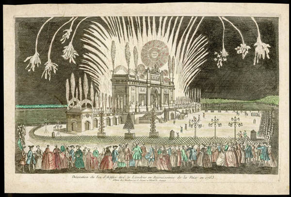 Fireworks Drawing - The Treaty Of Paris, Marking  The End by Mary Evans Picture Library
