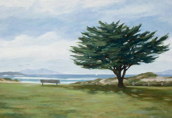 Oceanscape Painting - The Tree At Marina Park by Tina Obrien