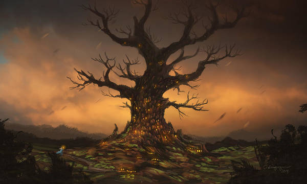 Search Digital Art - The Tree by Cassiopeia Art