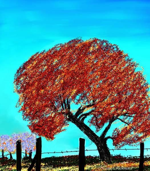 Fence Post Digital Art - The Tree Down The Street by Naomi Richmond