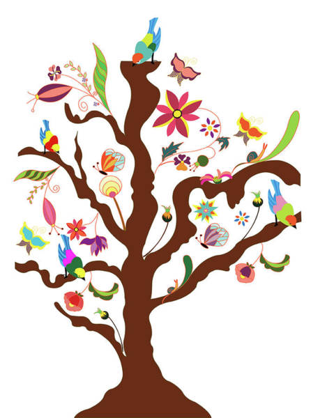 Freshness Digital Art - The Tree Of Flowers And Birds by Simona Dumitru