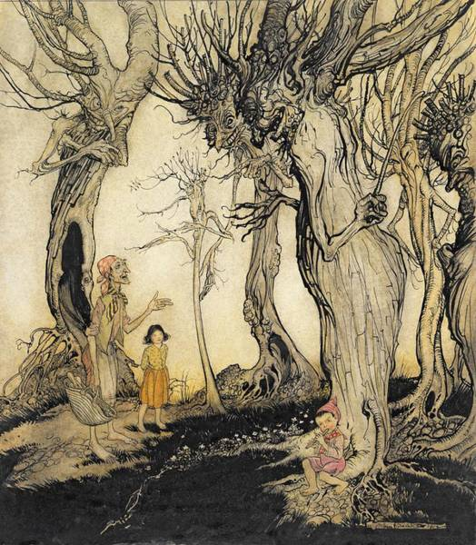 Gnarl Wall Art - Drawing - The Trees And The Axe, From Aesops by Arthur Rackham