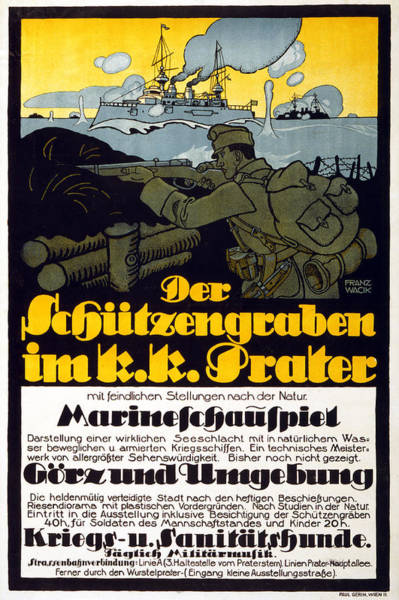 Propaganda Drawing - The Trench In The Prater, 1918 by Franz Wacik