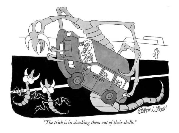 Trick Drawing - The Trick Is In Shucking Them Out Of Their Shells by Gahan Wilson