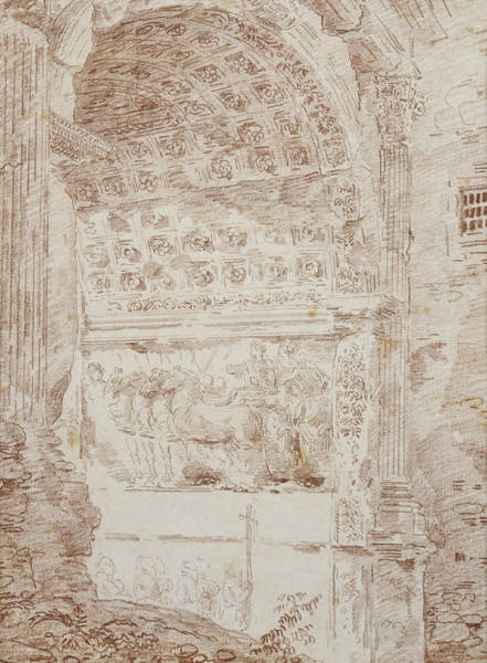 Procession Photograph - The Triumph Of Rome, Arc Of Titus Red Chalk On Paper by Hubert Robert