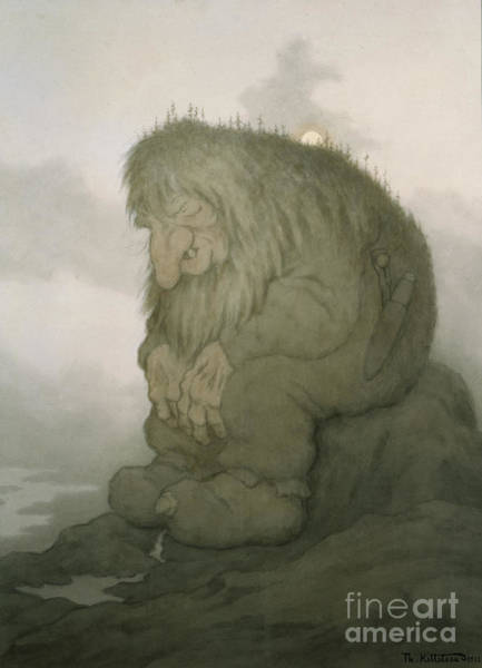 Troll Wall Art - Painting - The Troll That Wonders How Old He Is by O Vaering