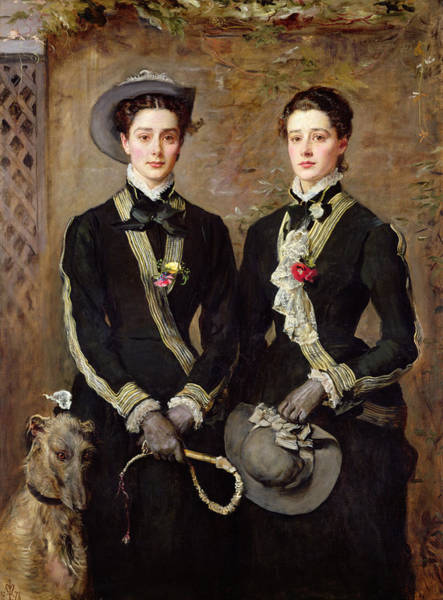 Twins Painting - The Twins, Portrait Of Kate Edith by Sir John Everett Millais