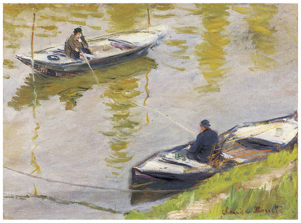 Angler Art Painting - The Two Anglers by Claude Monet