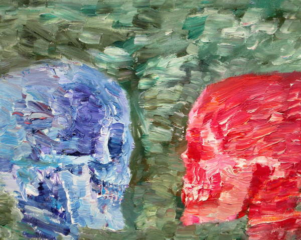 Skull Face Painting - The Two Opposed Each Other Face To Face by Fabrizio Cassetta