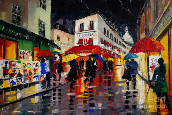 City Cafe Wall Art - Painting - The Umbrellas Of Montmartre - Paris Impressionism Palette Knife Cityscape by Mona Edulesco