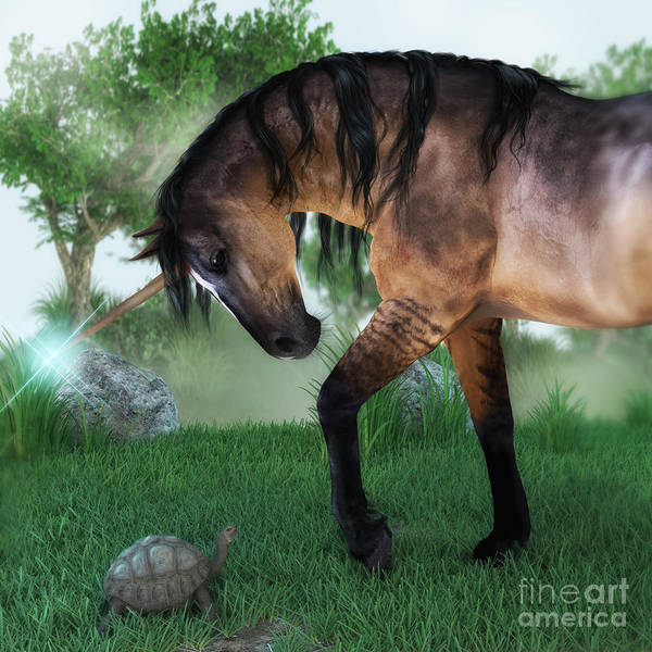 Digital Art - The Unicorn And The Tortoise by Elle Arden Walby