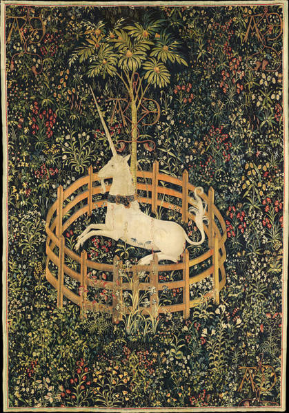 Wall Art - Tapestry - Textile - The Unicorn In Captivity by Unknown