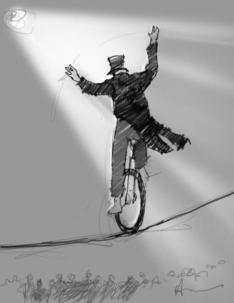 Wire Digital Art - The Unicyclist  by H James Hoff