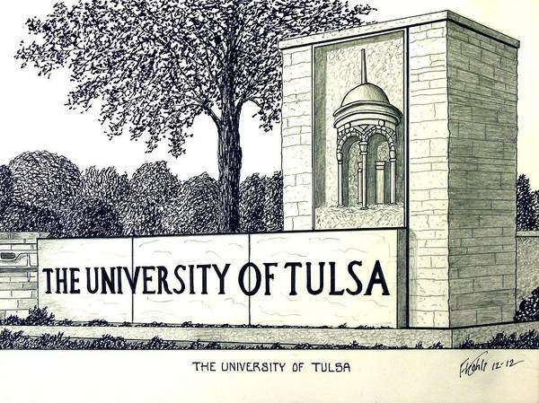 Pen And Ink Mixed Media - The University Of Tulsa by Frederic Kohli
