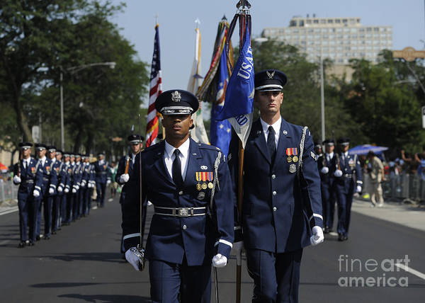 Honor Guard Photograph - The U.s. Air Force Color Team by Stocktrek Images
