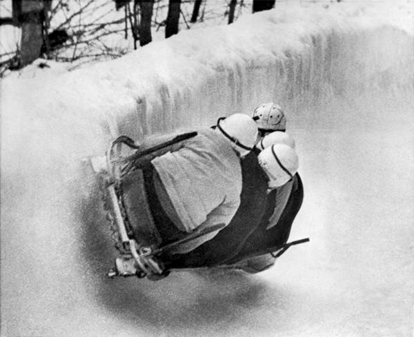 Playing Field Photograph - The Usa Bobsled Team On A Run by Underwood Archives