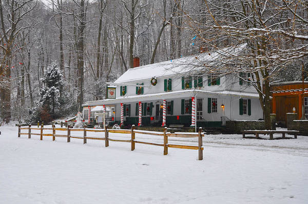 Philly Digital Art - The Valley Green Inn In The Snow by Bill Cannon