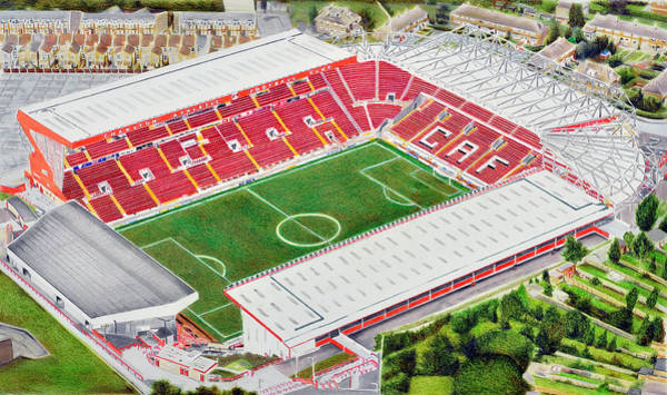 Wall Art - Painting - The Valley Stadia Art - Charlton Athletic Fc by Brian Casey